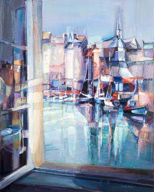 illustration : fenêtre quai Sainte-Catherine, huile sur toile.